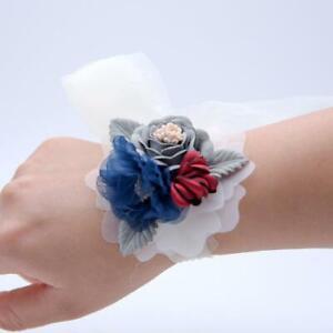 Wedding White tie back gray blue burgundy silk Flower Wrist corsage Prom Bridal