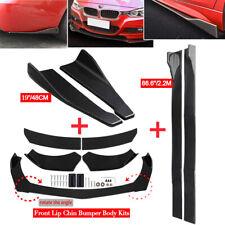 """Car Front Rear Bumper Lip Spoiler Splitter + 86"""" Side Skirt Extension for Bmw"""