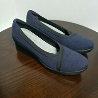 Clarks Sillian Dash Navy Blue Cloud Steppers Slip On Wedge Shoes Womens 9.5 M