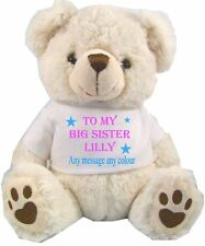 PERSONALISED WHITE TEDDY BEAR  BIG SISTER FLOWER GIRL ANY OCCASION GIFTS