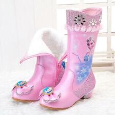 Kids Girls Warm Diamante Butterfly Buckle Strap  Heels Princess Shoes High Boots