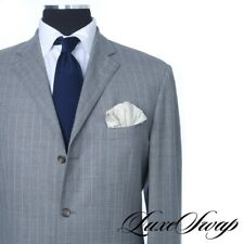 Polo Ralph Lauren Italy Tropical Mohair Mix Smoke Grey Fresco Pinstripe Suit 44L