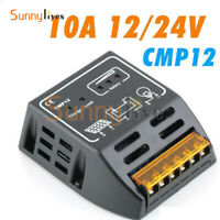 CMP Solar Panel Charge Controller Regulator 10A 12V 24V Auto Identify Black