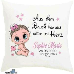 Geburtskissen Kissenbezug mit Name & Datum ♥Baby♥Geburt♥Taufe♥Geschenk♥ Kissen