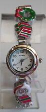 Designer look silver finish santa,gift,tree etc christmas fashion women's watch