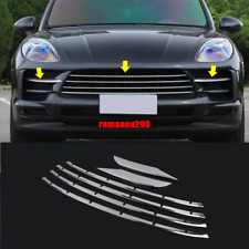 6X For Porsche Macan 2019+ Stainless Chrome Front Bumper Grille Strip Cover Trim