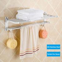 Wall Mounted Bathroom Organizer Hooks Towel Rail Storage Rack Shelf