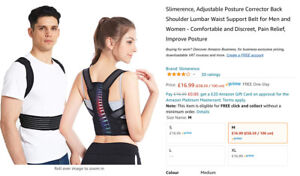 Slimerence Adjustable Posture Corrector Back Shoulder Lumbar Support MEDIUM