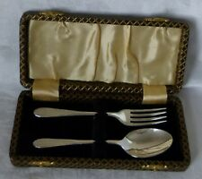 Fork & Spoon Christening Gift Set Silver Plated Boxed Circa 1930 Never Used fscg
