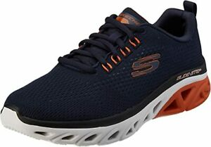 Skechers Glide Navy Shoes Men Memory Foam Mesh Sport Soft Comfort Casual 232270