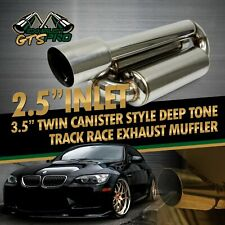 "FIT JPN CAR 1X TWIN LOOP CANISTER STYLE DEEP TONE TRACK EXHAUST MUFFLER + 4"" TIP"