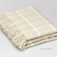 BRONTE Lambswool PRINCE OF WALES BEIGE CHECK THROW Blanket Merino Pure New Wool