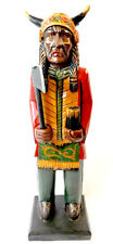LG HAND CARVED INTRICATE TABLETOP WOOD CIGAR INDIAN WESTERN AMERICAN DESIGN!!!!