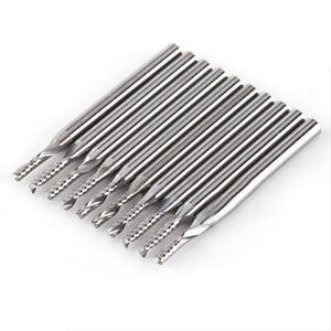 """10pcs 1/8"""" 2mm Carbide Spiral Bit End Mills Cutters Set CNC Single Flute Routers"""