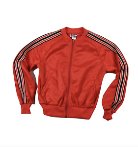 Deadstock Vintage 90s Youth Large Striped Warm Up Track Soccer Jacket Red USA