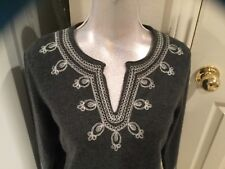 Tommy Bahama womens embroidered tunic sweater 100% cashmere s/p $300