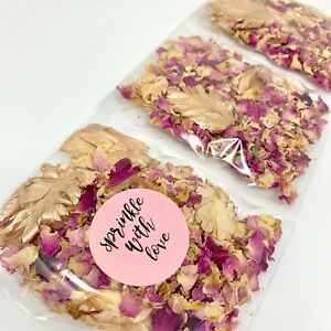 ROSE GOLD, Pink Roses Dried Biodegradable Wedding Confetti Petal Bags Packets