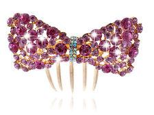 Luxus Sparkle Rose und Rosa Schleife Knoten Hochzeit Haar Zubehör Kamm HA170