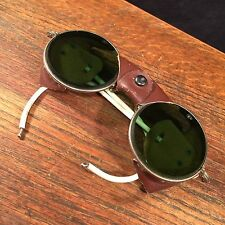 Vtg Sunglasses Glacier Mountaineering Ski Round Green Glass PRIORITY MAIL