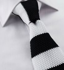 Cotton Skinny Knitted Tie Black & White Stripe Slim Square Tip