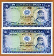 Set Portuguese Guinea, 2 x 100 Escudos, Consecutive Pair, 1971, P-45, Unc