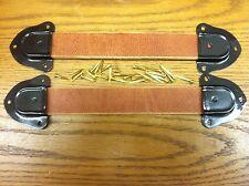 Antique Trunk Handles-2 leather straps,4 trunk hardware black metal ends-nails-A