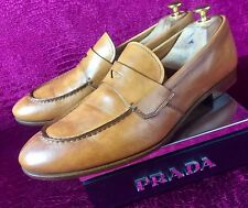 $620.00 Mens Brown Prada Leather Loafers Sz 8 Uk / 9 Us / 42 E Made In Italy
