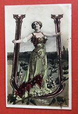 CPA. 1904. ALPHABET. Lettre U. Artiste. Paillettes. Reutlinger.