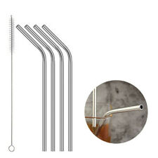 Stainless Steel Metal Drinking Straws Bent Reusable Washable 1 Brush