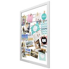 Bilderrahmen Fotorahmen 55x75cm Memoboard Fotohalter Rahmen + 20 Klammern Weiß