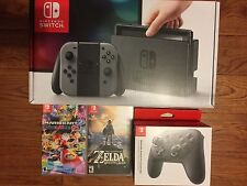 Nintendo Switch - 32GB Gray Console Bundle with Pro Controller Zelda Mario Kart