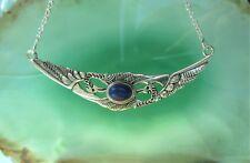 Collar Cadena Lapislázuli Azul 2 Sich -que Se Inclina Grúas Plata Esterlina 925