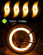 US 4 Yellow Bike Bicycle Cycling Wheel Spoke Tire Wire Tyre LED Flash Light Lamp