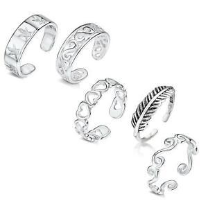 Amberta 925 Sterling Silber Einstellbarer Zehenring und Midi Ring für Frauen