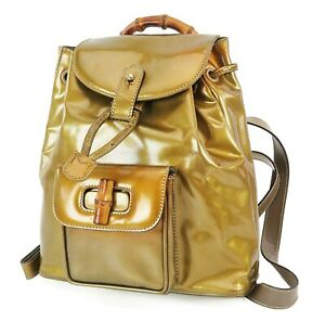 Auth GUCCI Bronze Patent Leather and Bamboo Handle Mini Backpack Bag #38367B