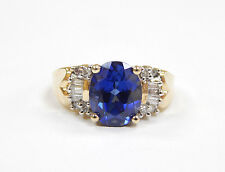 Estate $900 .26ct Diamond 10K Yellow Gold Simulated Sapphire Ring Size 7 10kt