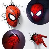 Marvel avengers led 3d wall night light deco super heroes spideman marvel avengers spider man mask head face hand 3d deco wall night light aloadofball Gallery