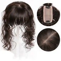 Short Wavy Topper 100% Human Hair Clip in Top Hairpiece Toupee Bangs Extensions