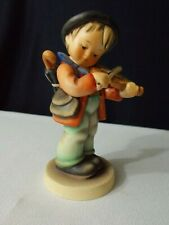 Hummel Figurine Boy playing violin with umbrella on back. Stands 5 inches tall