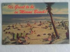 1940s CURTEICH POSTCARD BATHERS BATHING BEAUTIES SWIMSUITS MIAMI BEACH FLORIDA