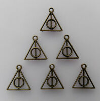 50pcs Triangle Round Deathly Hallows Bronze Bead charms Pendants