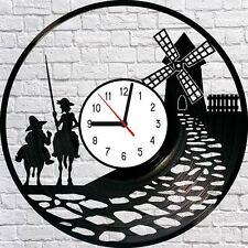 Don Quixote Sancho Panza Miguel de Cervantes Vinyl LP Wall Clock Art Deco
