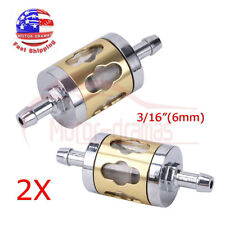 "2x Inline Gas Fuel Filter 6mm-7mm 1/4"" 3/16"" Gold Metal Small Engine Motorcycle"