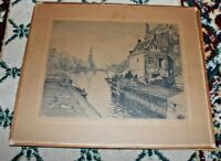 Antique Etching Houses By Waterway Boats Chr. Larsons Rammefabrik German Village