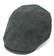 Mens Black Cotton Blend Corduroy Flat Cap XL Size 60-61 cm Cheap