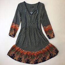 Dotti Boho Print Long Sleeve Dress, Stretch, Knee Length, Velvet V-neck, Size 6