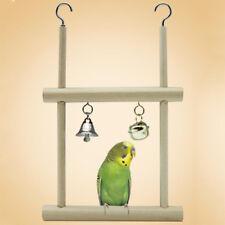 EE_ KF_ Wood Pet Bird Parrot Parakeet Cockatiel Hanging Bell Stand Cage Swing To