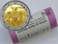 Rouleau 25 pièces x 2 euros commémoratives MALTE 2017 - Peace, La Paix - UNC