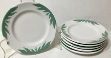 Lot of 6 Mayer China Bread Plates MYR75 Restaurant Ware PA Green Leaves White