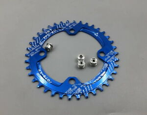 Blue Single Chainring BCD104 Narrow Wide Round 32/34/36/38/40/42T+ 4 Bolts